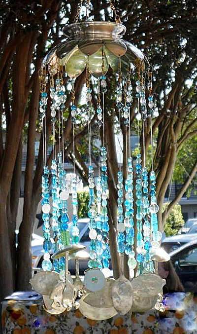 Karen McLendon's cool blue windchimes