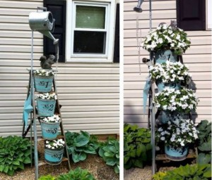 Ladder planter, before and after