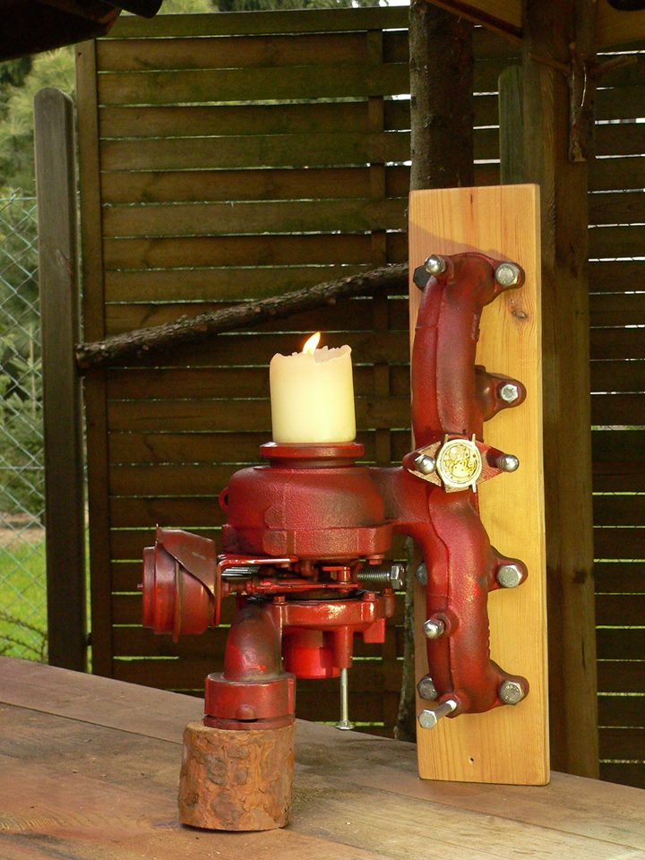 Steampunk candle holder