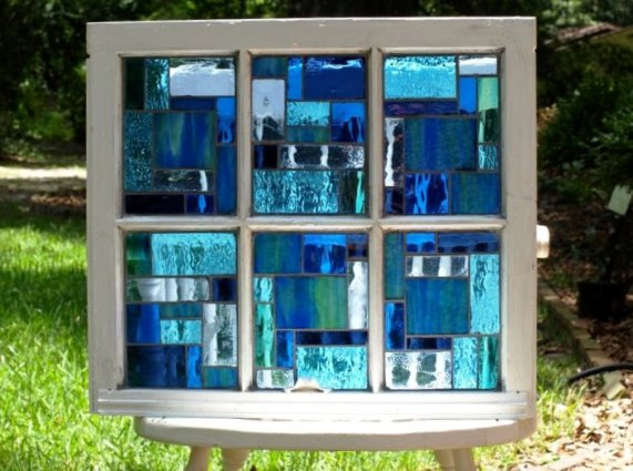 We love the watery blues in Shelly Wood's mosaic window