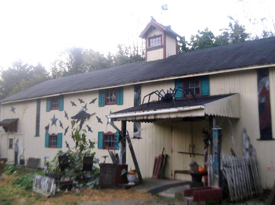 The woodshop decorated with bats, spiders and spooks