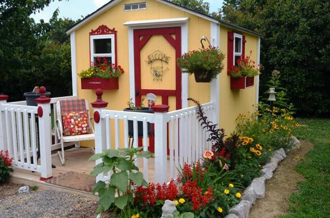 Christy Morrow's cottage makes a cute place to arrange a collection of Flea market finds.