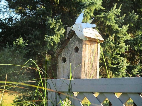 Here's another birdhouse with the two more birds, Jeannie says