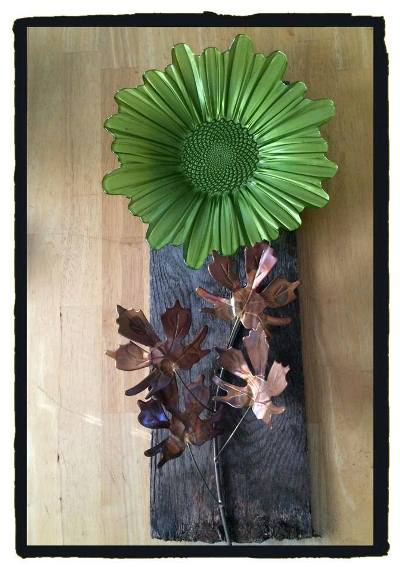 Margaret Seales‎ barn wood dish flower