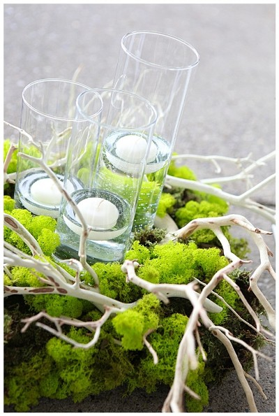 Twig and lichen centerpiece
