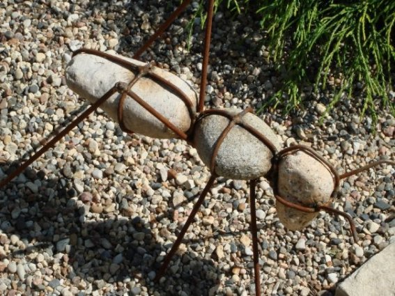 Deanne Clemens has big ants in her garden! Made from metal rods and rocks