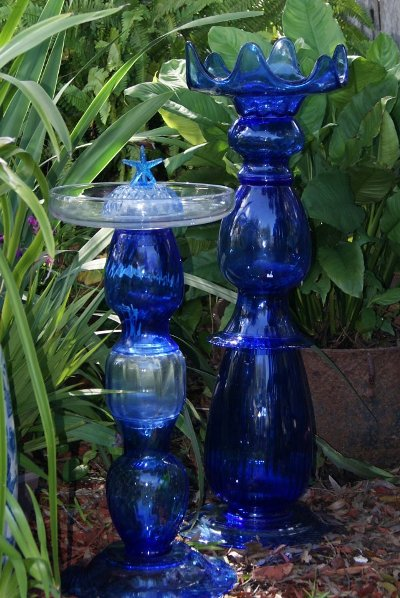 Cindy McRee's blue glass totems