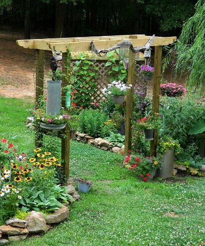 Dandi Gentry's arbor vignette is surrounded with flowers