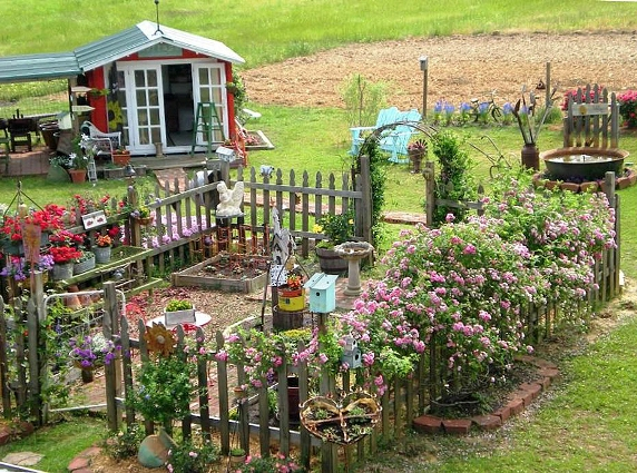 Billie Hayman's picket fence garden