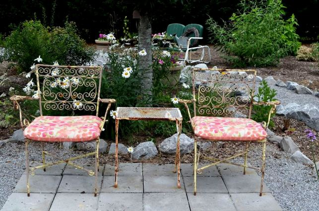 Christy's vintage cafe chairs, now under a shady tree