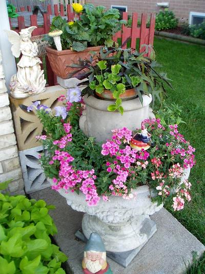 Marion Richardson's recycled fountain, now a planter