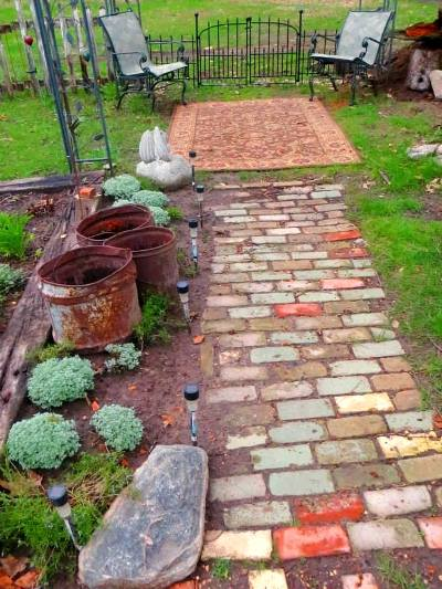 Theresa's recycled brick path