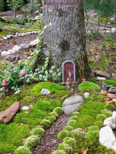 Anita Earnest creates a fairy abode in a tree