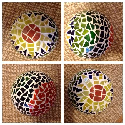 First mosaic bowling balls...with white grout