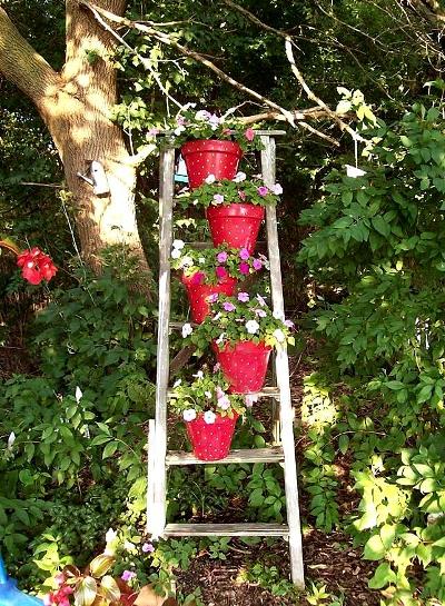Repurposed ladders in the garden sierra news online for Garden maker online