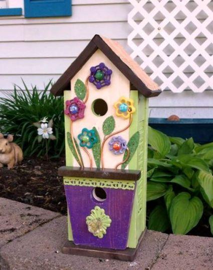 Sandra Hogan's faucet flower birdhouse