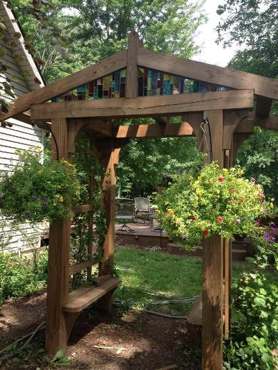 Arbors the romantic entrance to your garden flea market for Timber garden arch designs