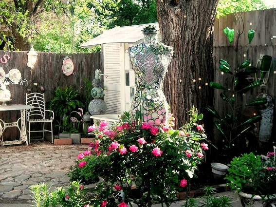 Becky Norris's beautiful garden mannequin with a flowing skirt of pink roses