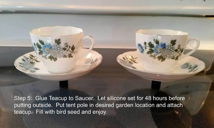 Teacup bird feeder glued and drying