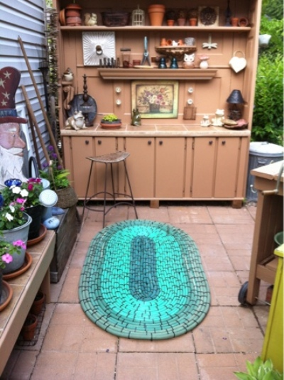 The rug in the potting area