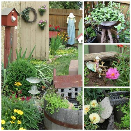 Top right...An enamel pan of deliciously scented chocolate mint ( which I rub between my fingers everytime I pass)..Middle picture... A fairy resting a bit in the bistro.. and Bottom.... Portulaca ( Rose Moss) partially hiding the secret bridge entrance to the fairy garden.