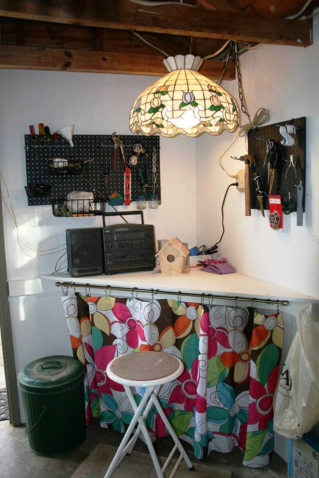 """Patti Earley's new work bench. """" This is """"After"""" and it's still a work in progress. I have a good place to sit now, to craft and enjoy the music!"""""""