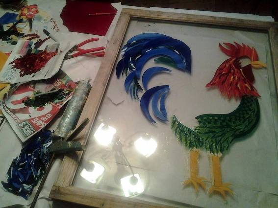 Dandi Gentry's Glass on glass rooster mosaic