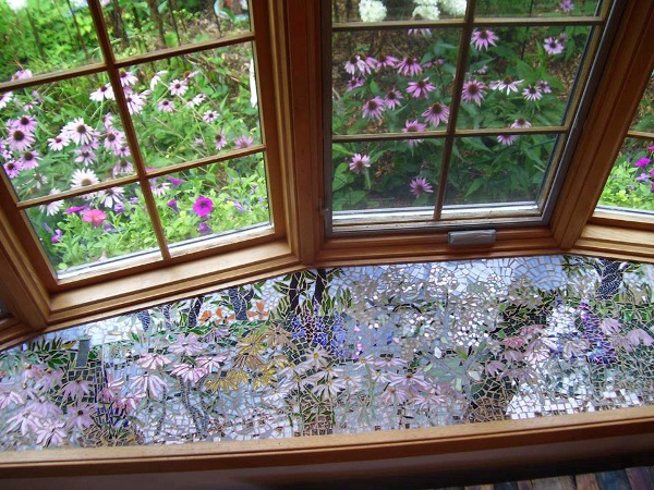 Susan's tiled windowseat inspired by her garden