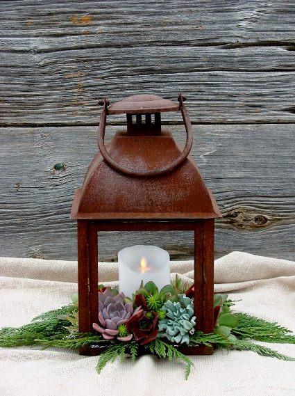 Chere Smith's lantern over an arrangement of succulents