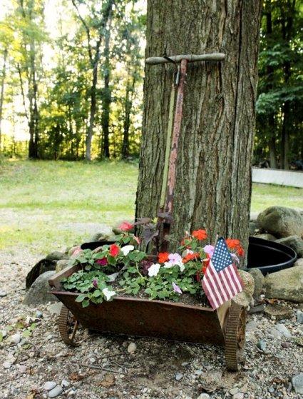 Anna Kittle's vintage fertilizer spreader, now planter!
