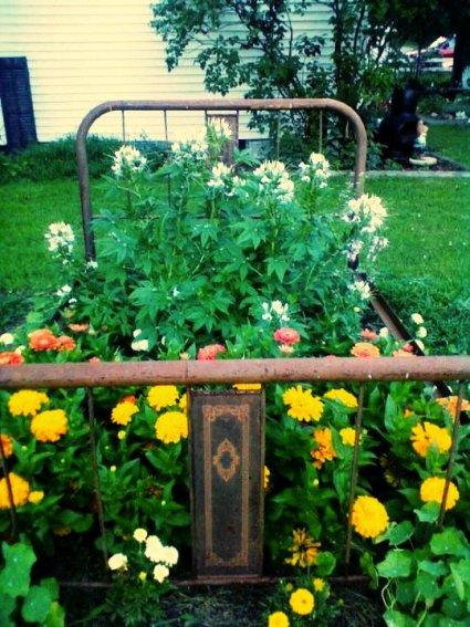 Shirley Boley's perfectly rusty bedframe garden