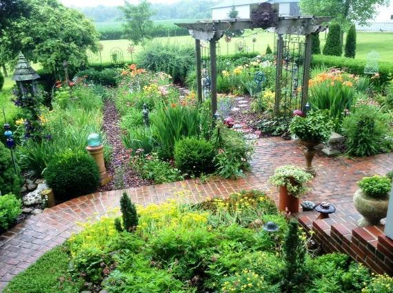 Brick paths transition to more casual steping stones
