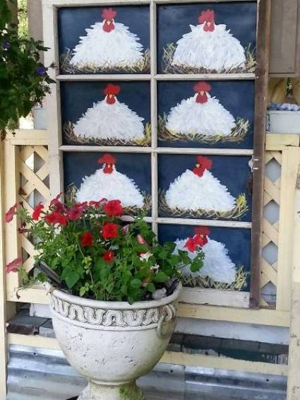Kelly painted this window with nesting chickens