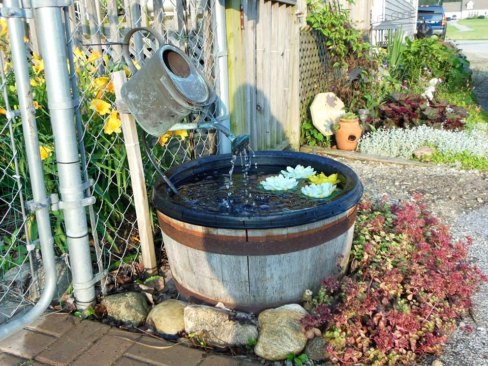 Another of Kathie's tub liner fountains
