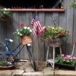 Cindy Trubisky bicycle anchors this garden vignette