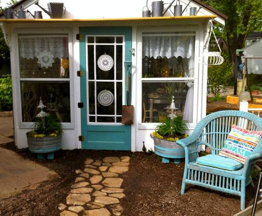 Ann's garden room, The Lady Lounge, all decorated in teal blue