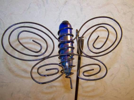 Sue Jordan's bottle and copper wire butterflies