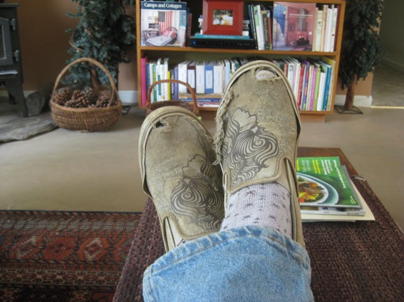 Day is done and these Vans slipons are still good for the year. They'll go in the washer each week.