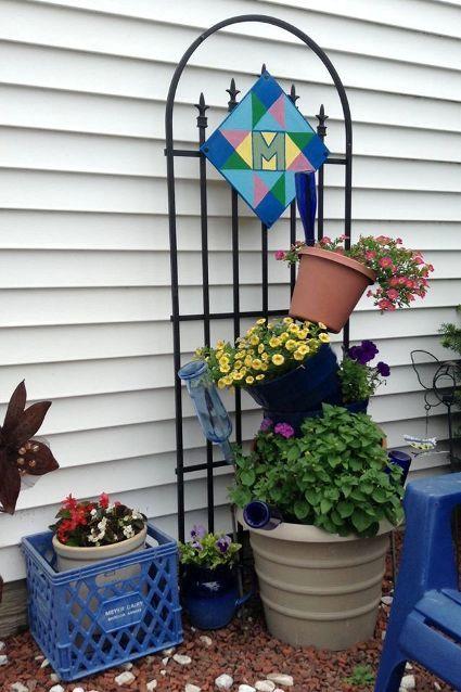 Nancy K Meyer finished barn quilt trellis