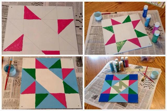 Working on my garden sign, a small barn quilt of my own design