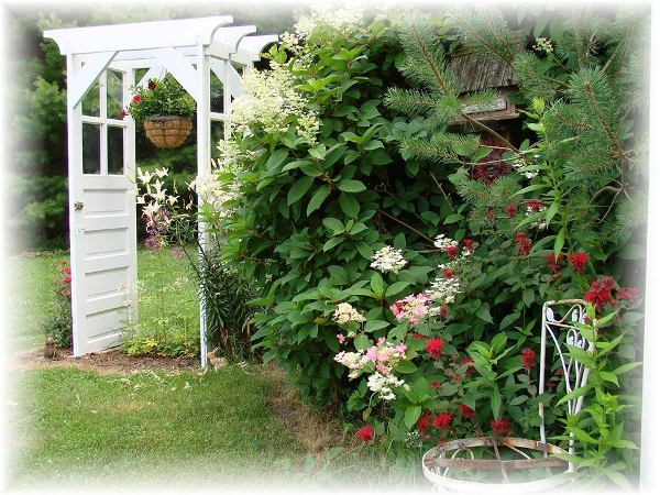 Jeanne's door arbor makes a charming focal point in the garden