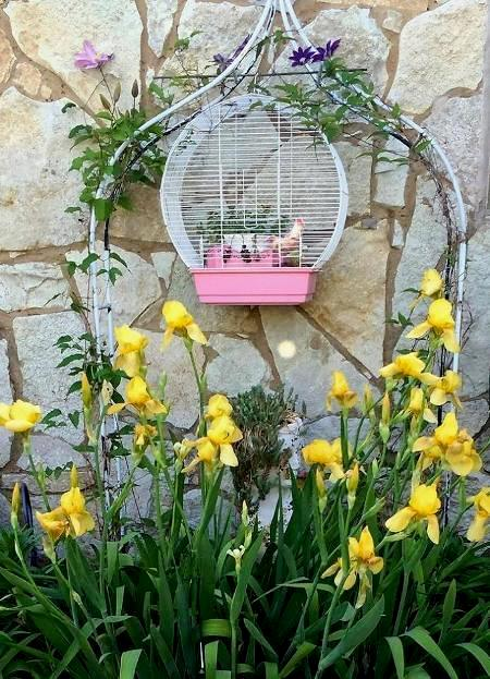 I love bird cages in the garden. This one holds a pot of succulents and a ceramic bird,