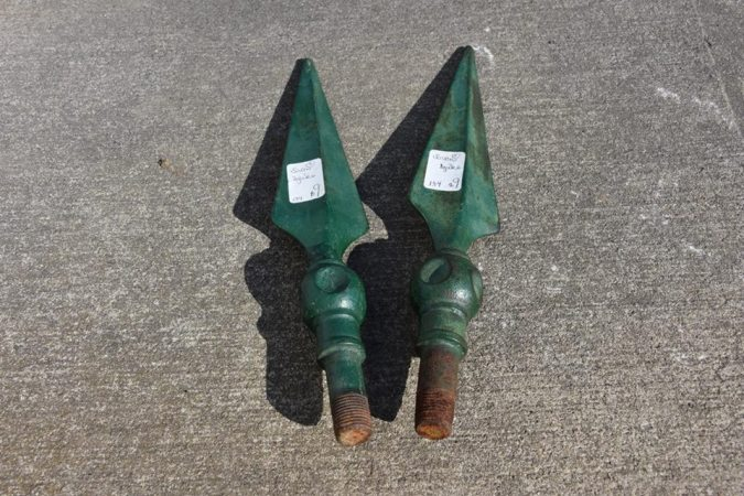 Vintage finials with old paint that I found at our daughter's Johnson County Antique Market